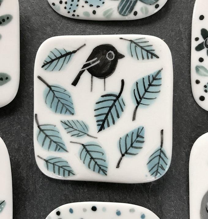 Bird on Leaves Brooch - Karen Risby