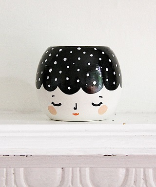 Black Dot Planter - Krafty K Design