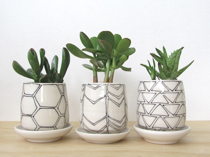 Black and White Geometric Planters Set - Melisa Maya Pottery