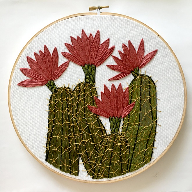 Blooming Cacti Embroidery - Unpicking