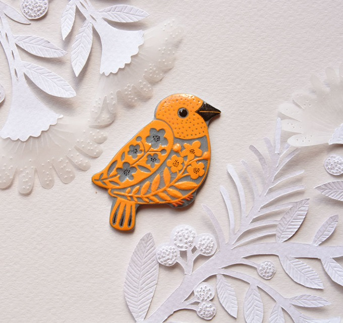 Blue Orange Bird Brooch - Fox in the Mist