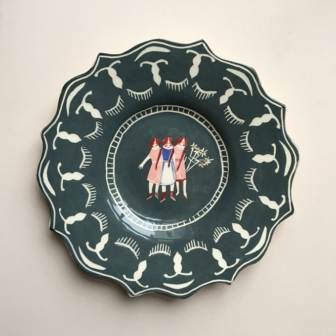 Blue Three Graces Plate - Polly Fern