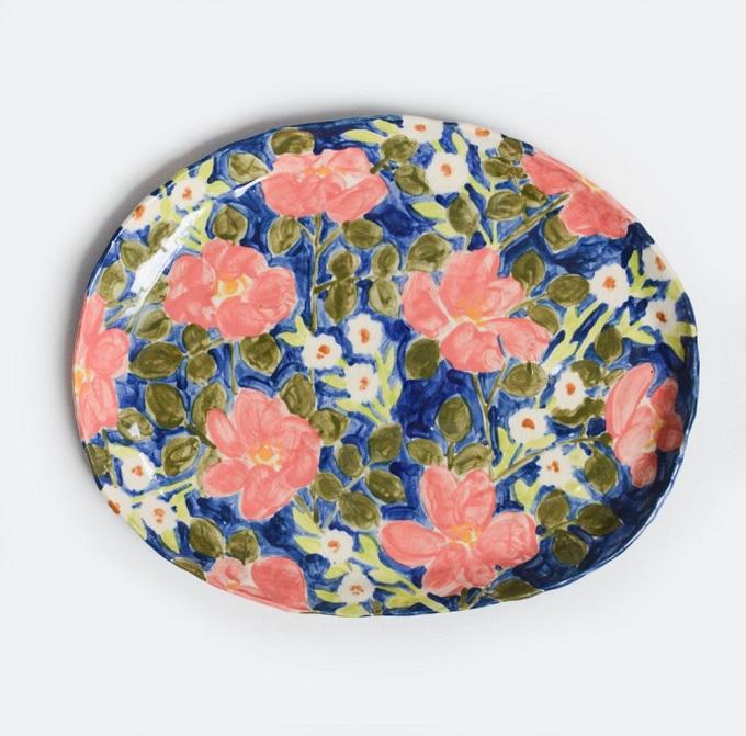 Blue Wild Rose Platter - Leah Goren