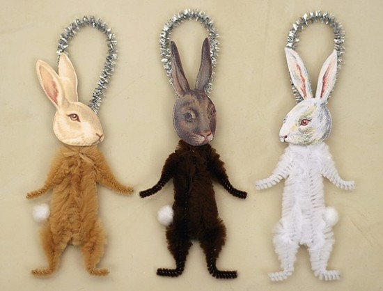 Bunny rabbit ornaments / Old World Primitives