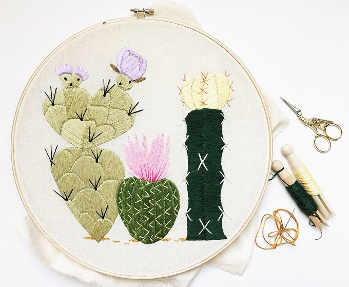 Cacti Embroidery Hoop - Yolish Designs