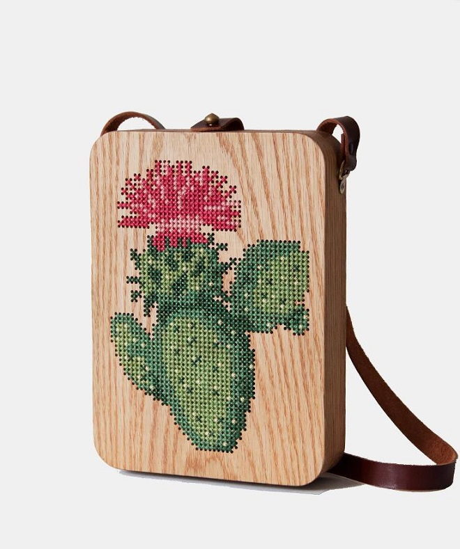 Cactus Stitched Wood Bag - Grav x Grav