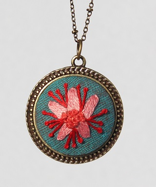 Embroidered Pendants by Ceci Leibovitz