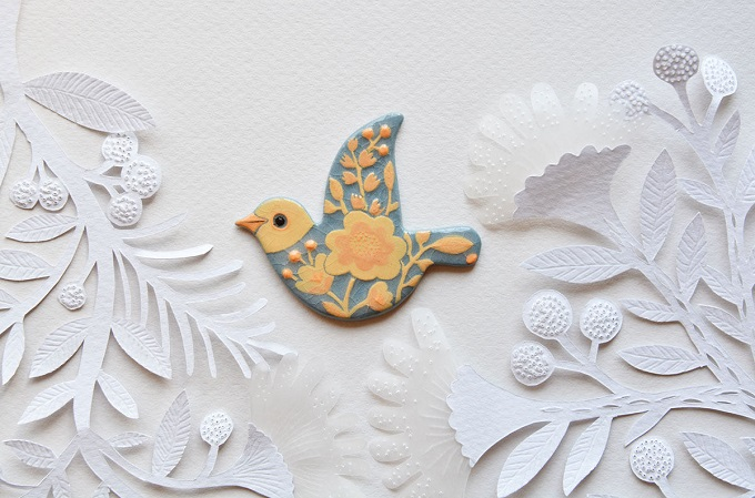 Ceramic Bird Brooch - Fox in the Mist