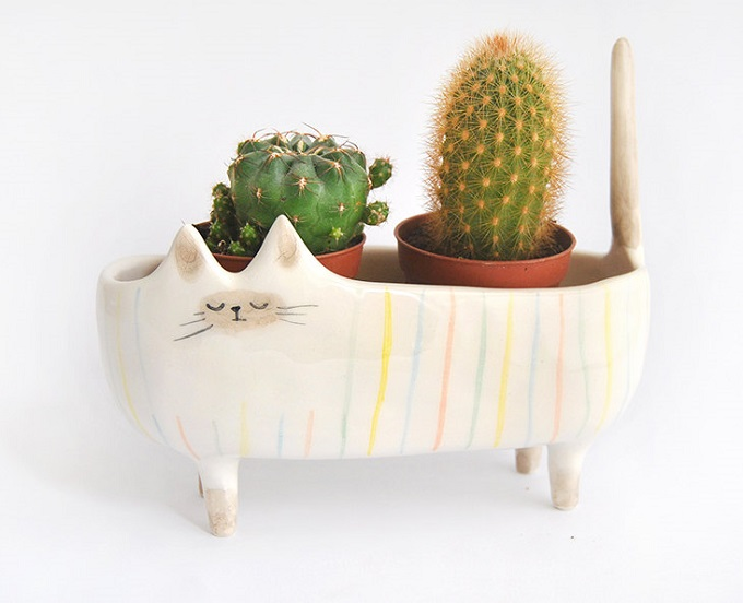 Ceramic Siamese Cat Planter - Barruntando