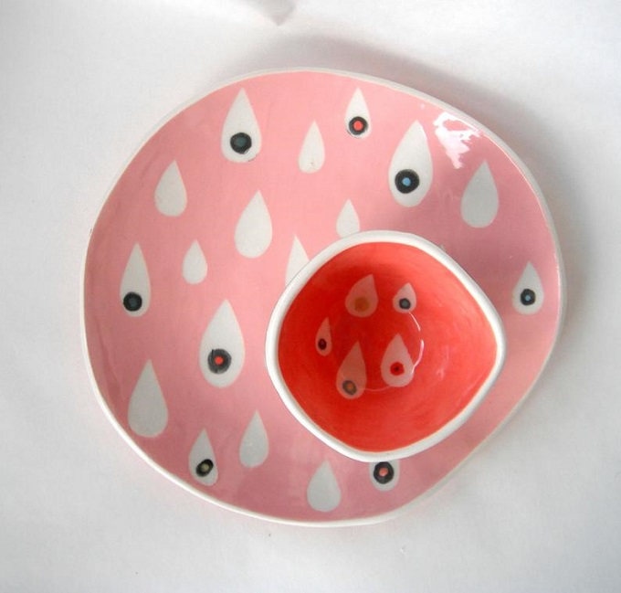 Pink Raindrops Plate by Ceramica Botanica