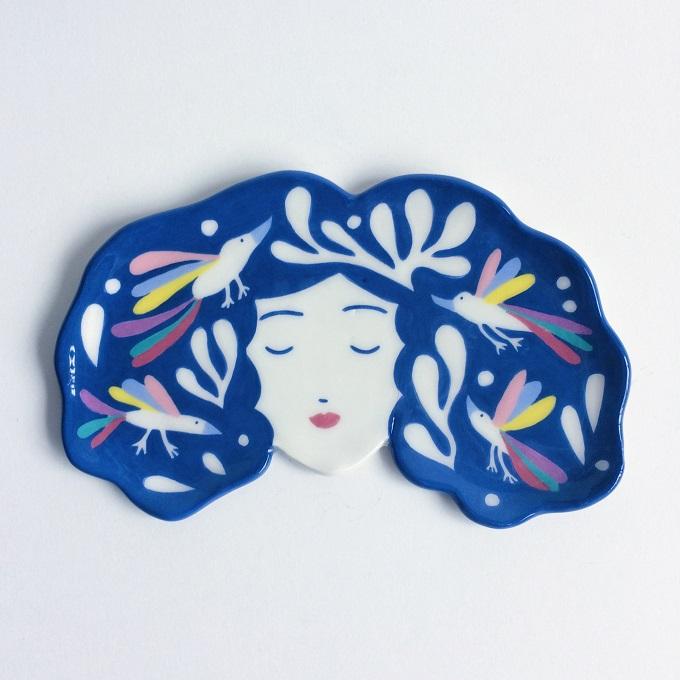 Cosmic Birds Girl Plate - Lisa Junius
