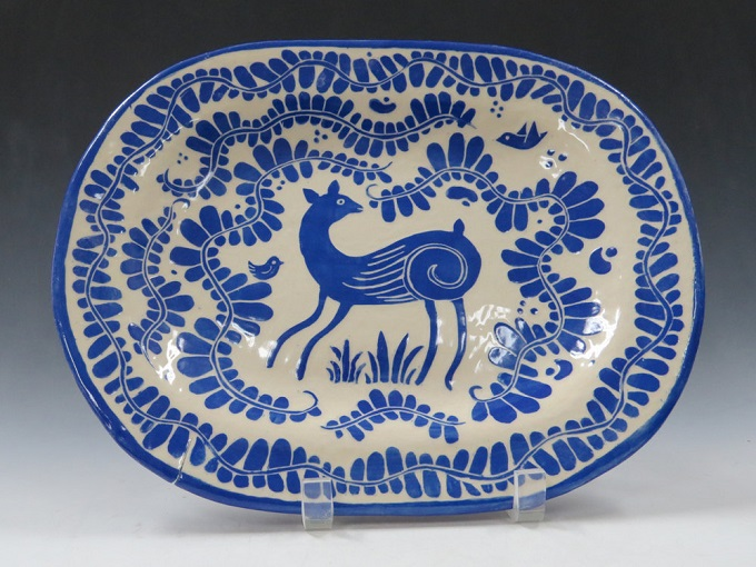 Deer and Leafy Vines Platter - The Clay Bungalow