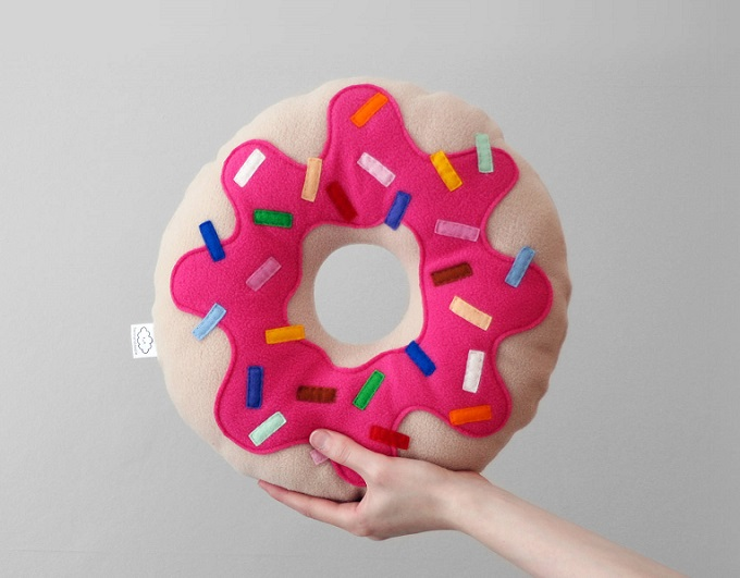 Donut Fleece Cushion - Hannah Doodle