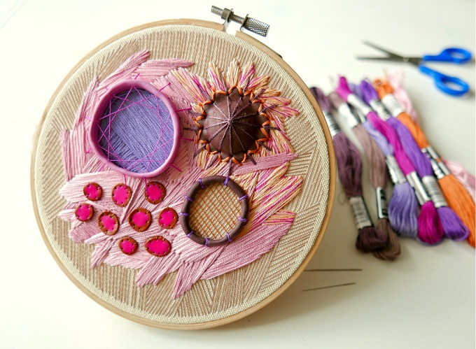 Embroidered Hoop with Thread and Polymer Clay - Nibyniebo