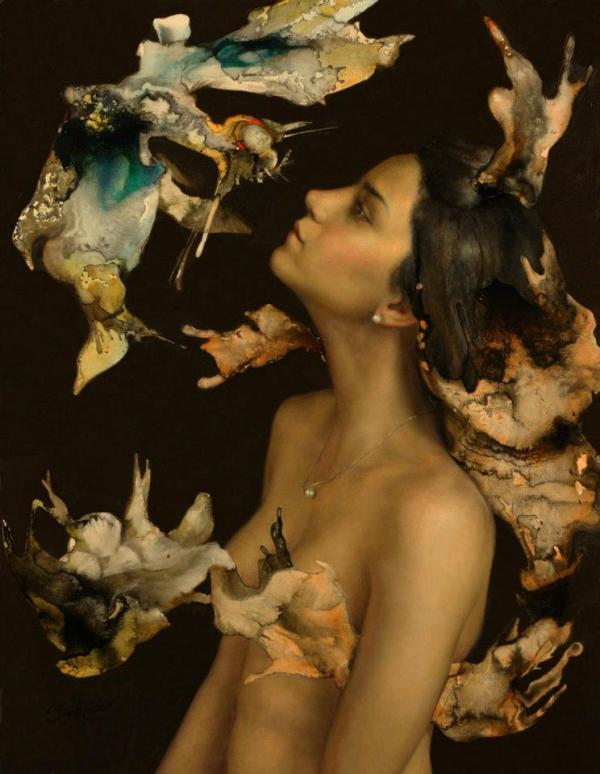 Farfalline della Notte, by Cesar Santos. Oil on canvas.