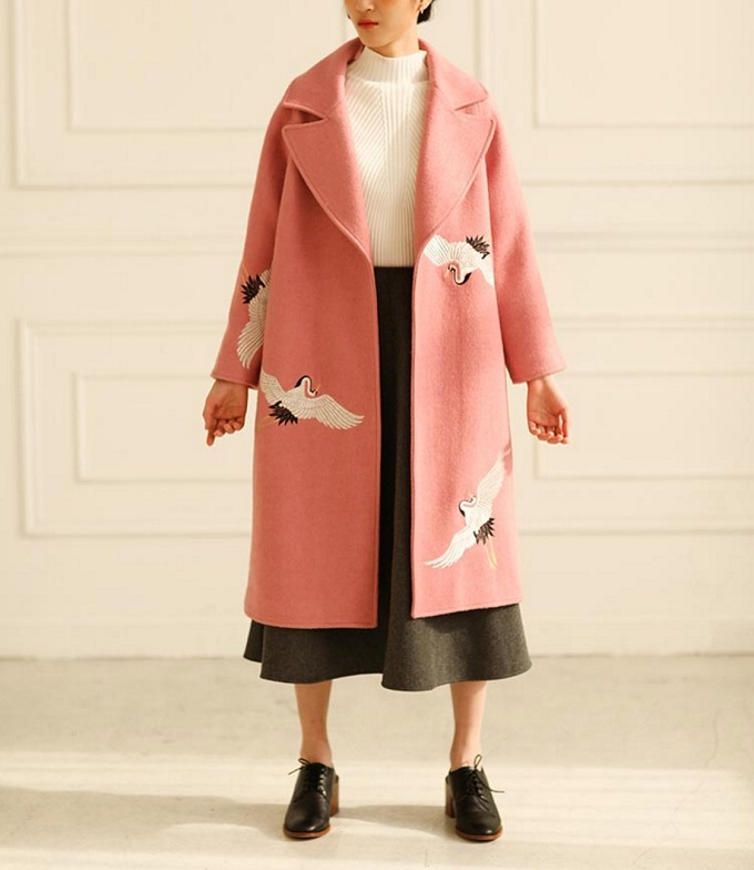 Fine Art Collection Pink Wool Coat - Purple Fishbowl