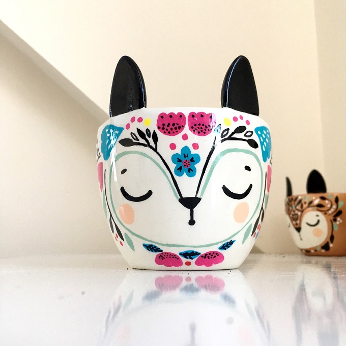 Floral Fox Plant Pot - Krafty K Design