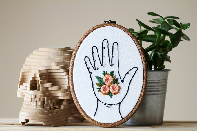 Flowers in My Hand Embroidery - Femmebroidery