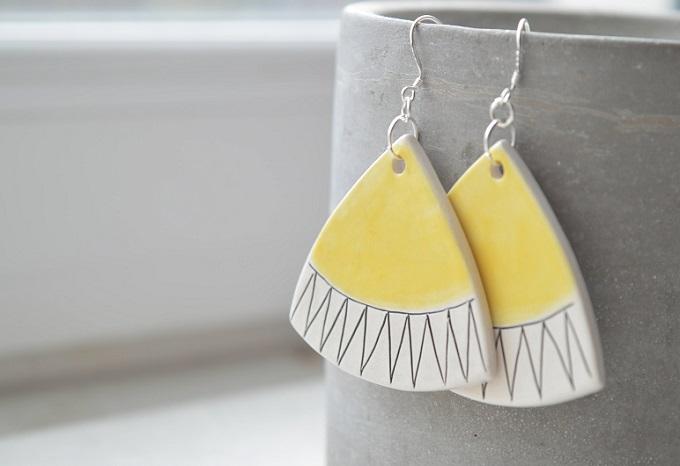 Geometric Ceramic Earrings - Isla Clay