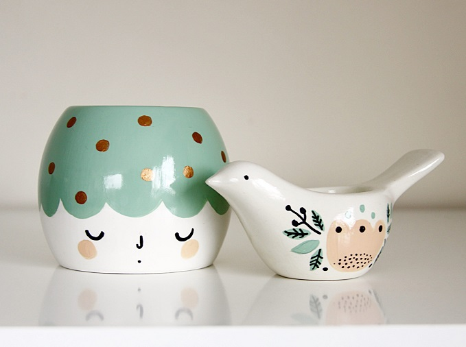Girl and her Bird Planter and Tea Light Holder - Crafty K Design
