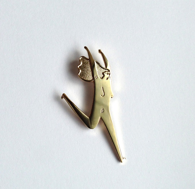 Gold Running Lady Pin - Amy Victoria Marsh
