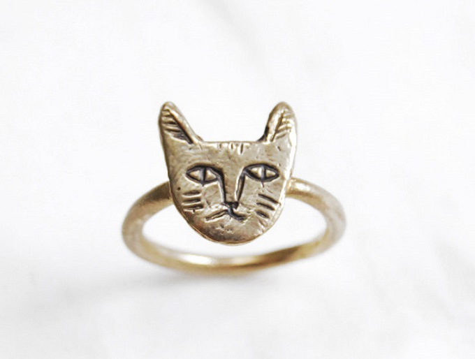 Golden Cat Face Ring - Datter