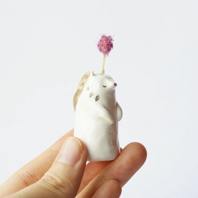 Handmade Porcelain Horse Plant Holder - Lithops Studio