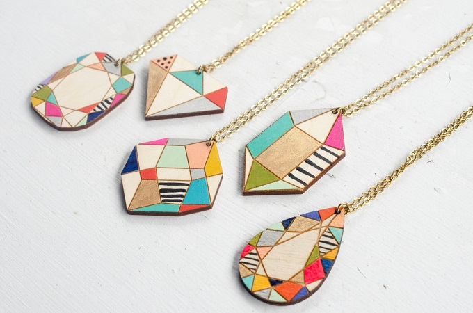 Handpainted Wooden Gem Pendants - Jill Makes