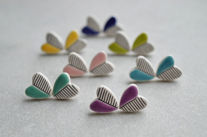 Heart Stud Earrings - Isla Clay