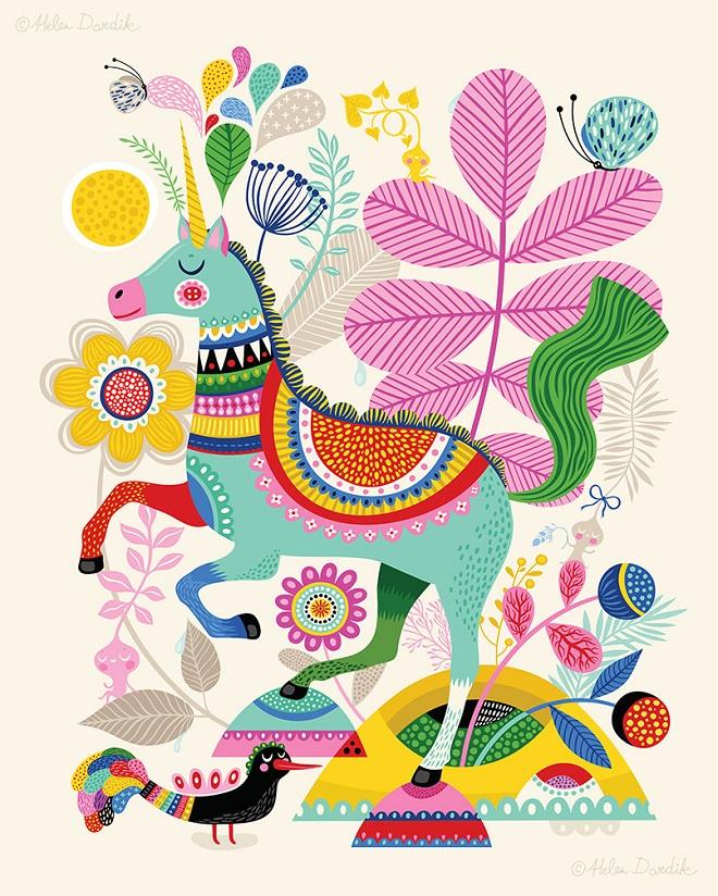 Unicorn Art Print / Helen Dardik