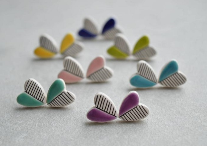 Heart stud earrings by Isla Clay