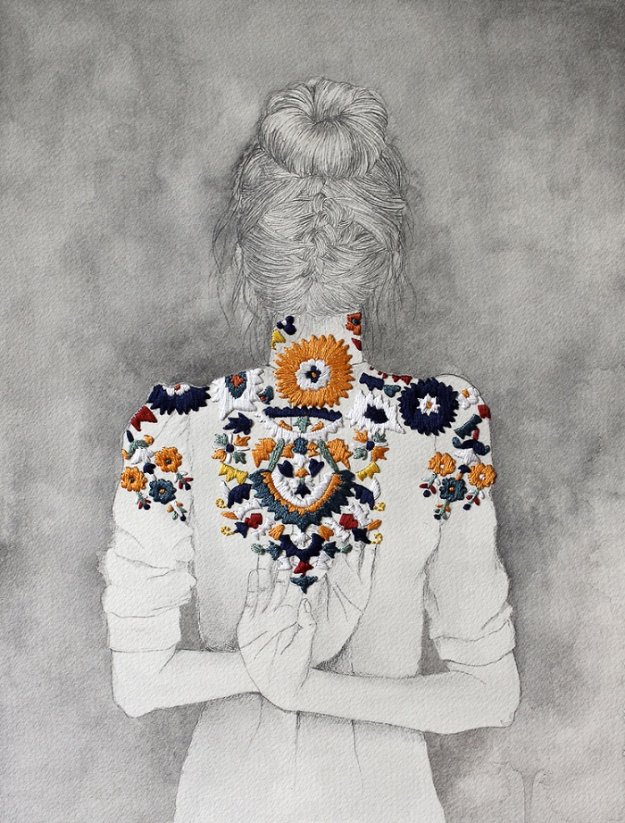 Embroidered illustration by Izziyana Suhaimi