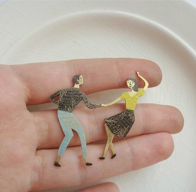 Lindy Hop Dancers Brooch - Anna Tverdokhlebova