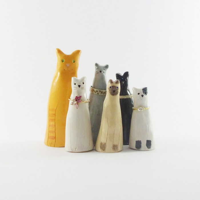 Cat ring holders / Minky Moo Ceramics