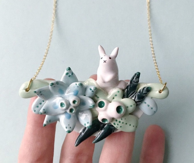 Ceramic Rabbit Necklace by Ms. Birdie