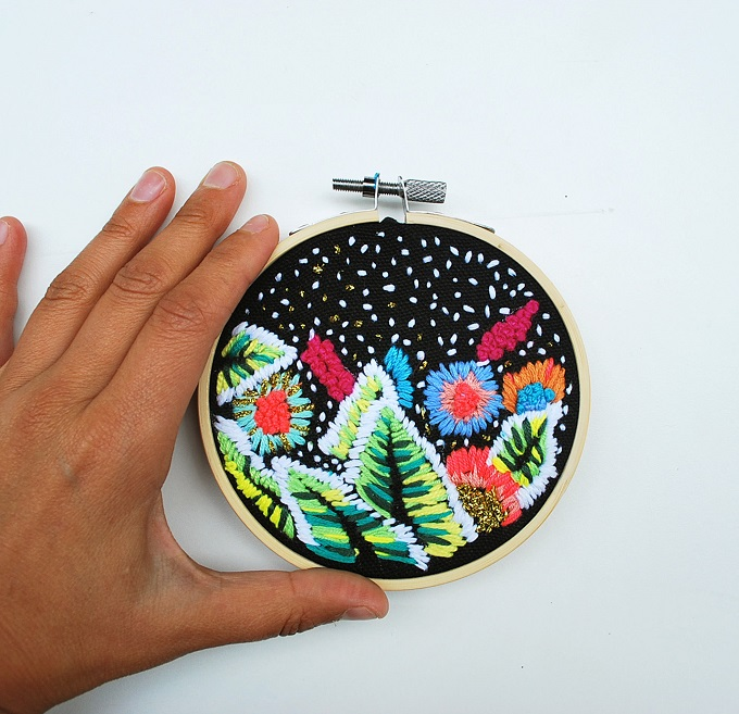 Night Time Greenery Embroidery - Katy Biele