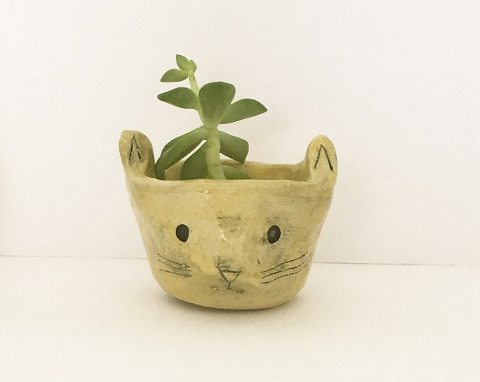 OOAK Yellow Ceramic Cat Planter - Kristen Solecki