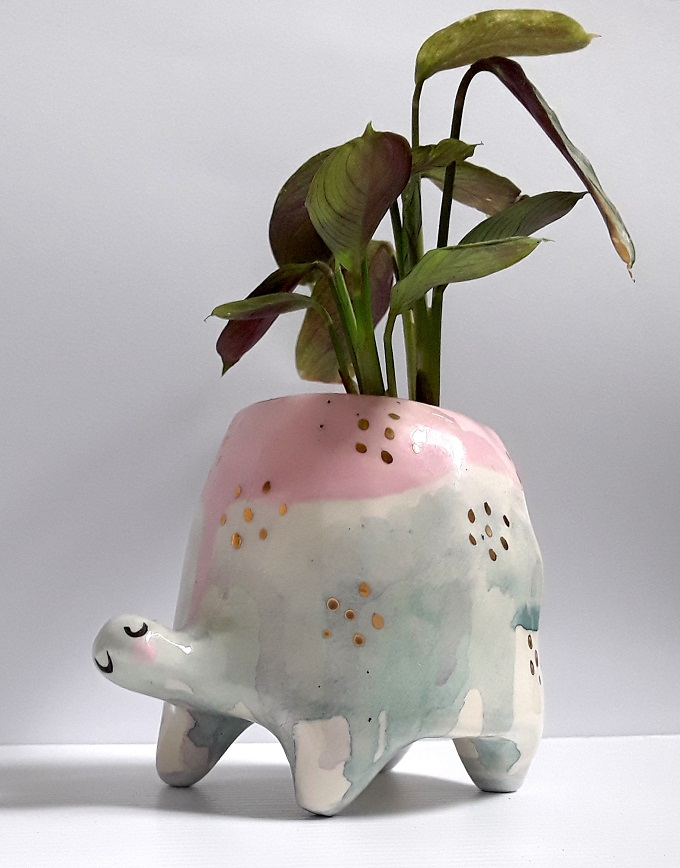 Pastel Ceramic Turtle planter - Gail CC Ceramics