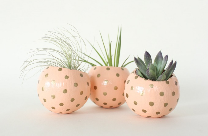 Peach & Gold Planter Pod - Thrifted and Made