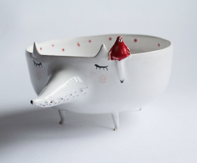 Peter the Wolf with Little Red Riding Hood Bowl - Clay Opera