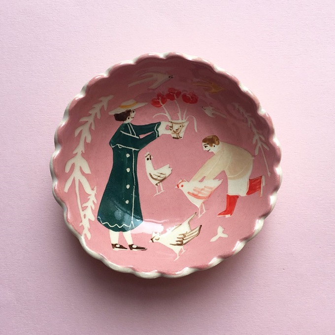 Picking Flowers & Chasing Chickens dish - Polly Fern