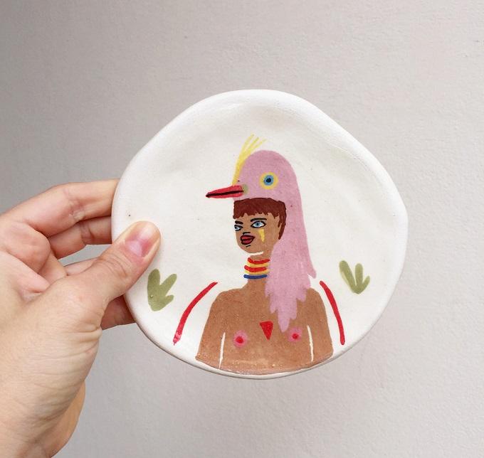 Pink Bird Warrior Dish - Miriam Brugmann