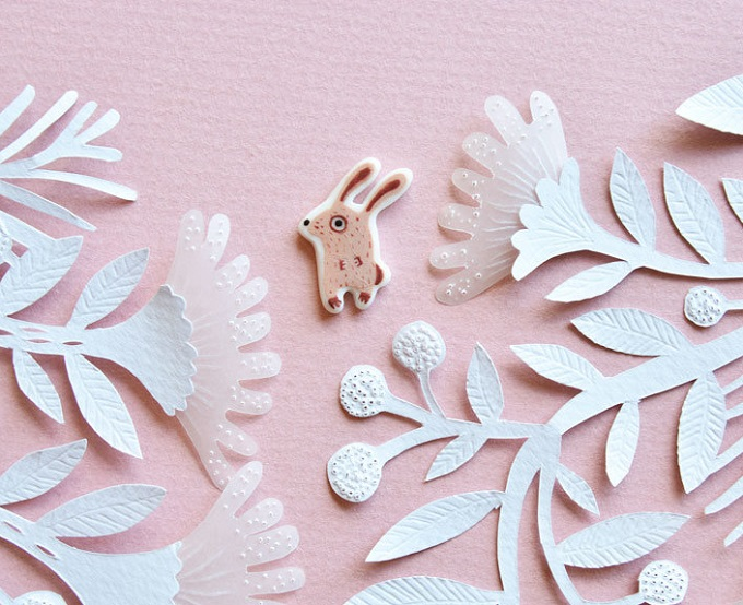 Pink Bunny Pin - Fox in the Mist