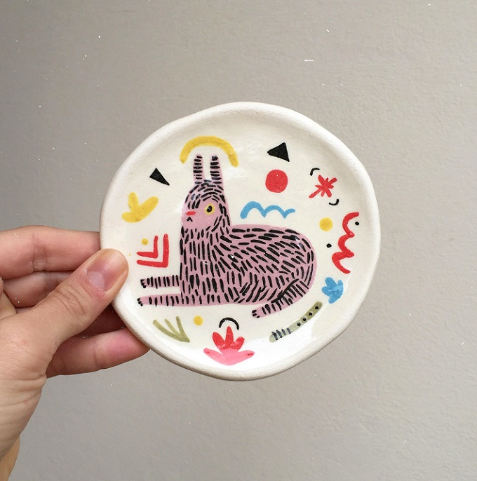 Pink Jaguar Dish - Miriam Brugmann
