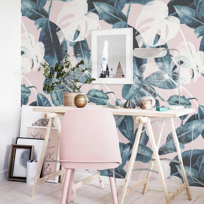Pink Leaves Wallpaper - Annet Weelink Design