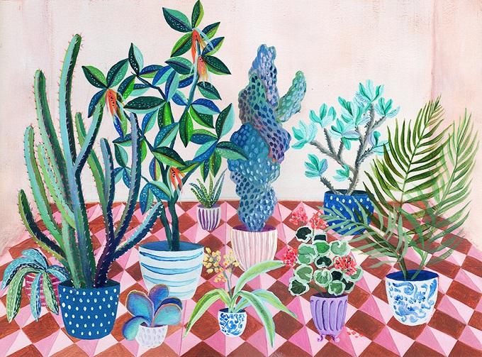 Pink Tiled Backyard Print - Laura Garcia Serventi