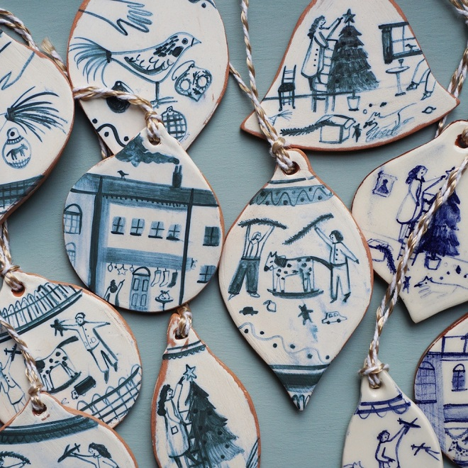 Ceramic Christmas Baubles / Polly Fern
