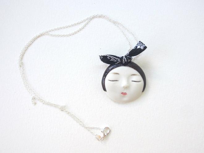 Porcelain Face Pendant - Dai Li Jewellery