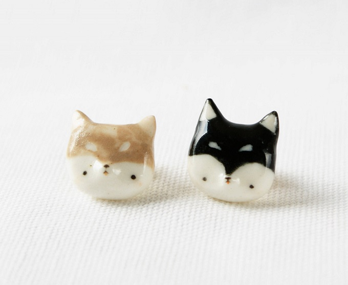 Porcelain Shiba Inu Badge Pin - Lithops Studio