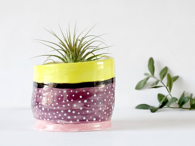 Purple Ceramic Planter - The Minty Mountain